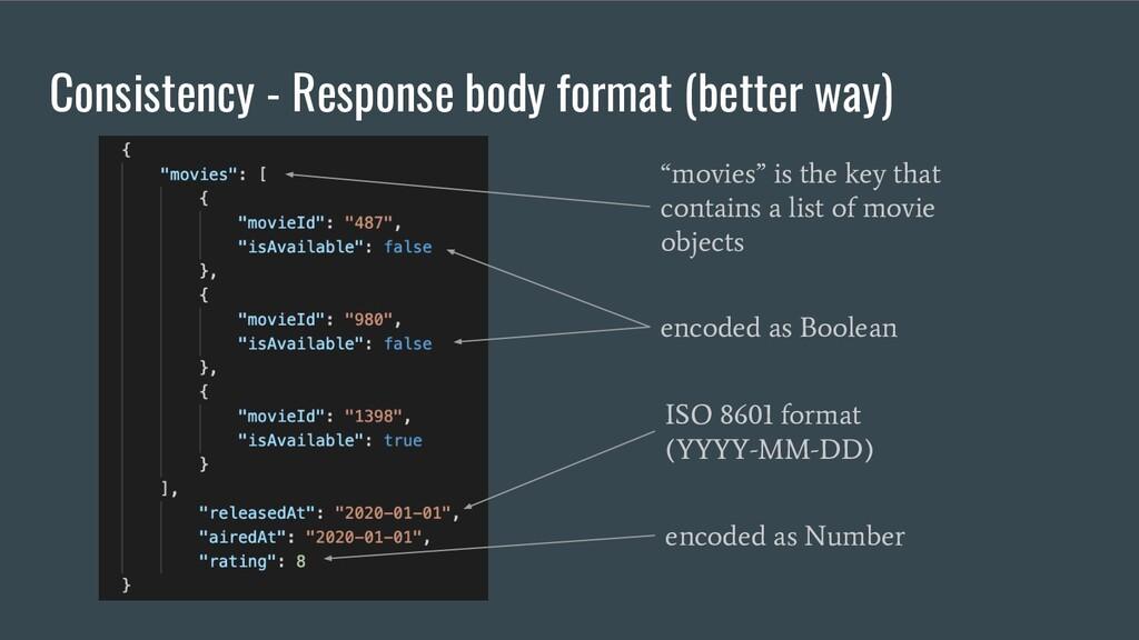 Consistency - Response body format (better way)...