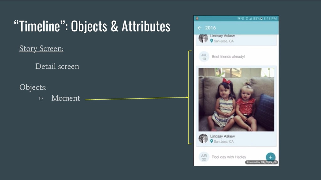 """""""Timeline"""": Objects & Attributes Story Screen: ..."""