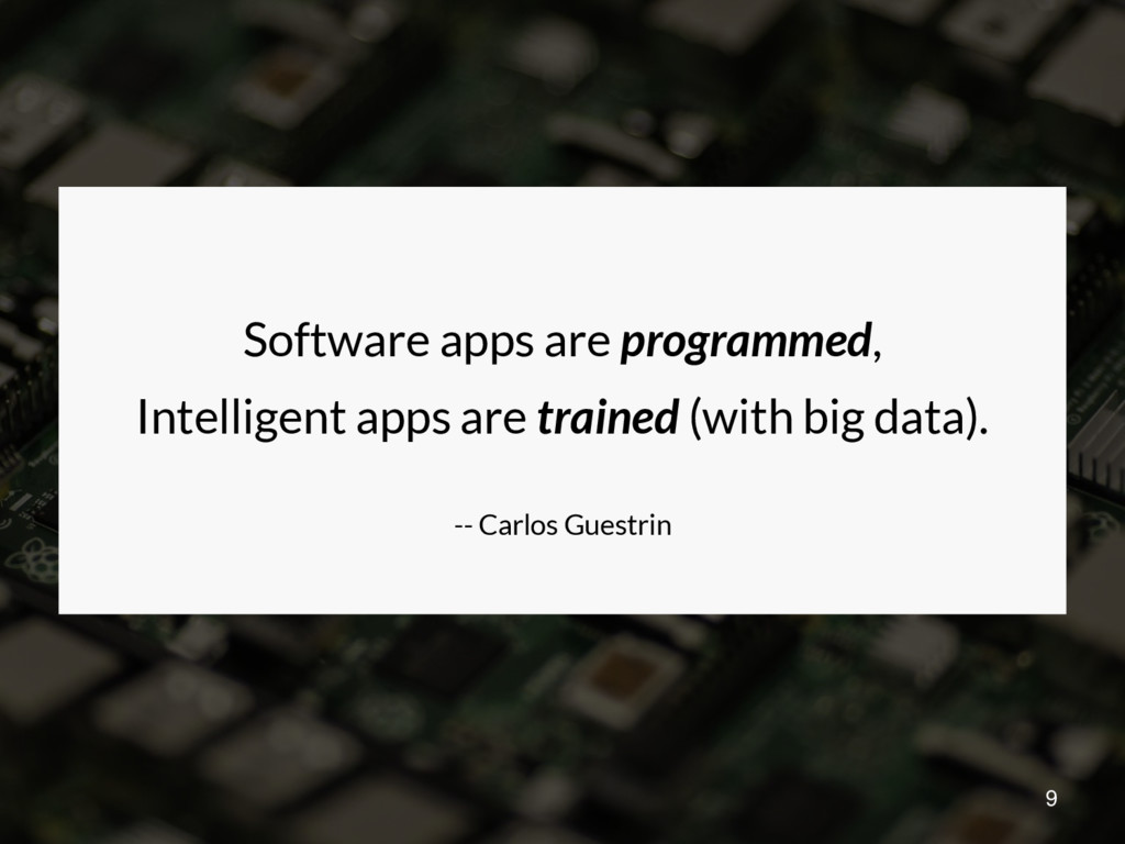 Software apps are programmed, Intelligent apps ...
