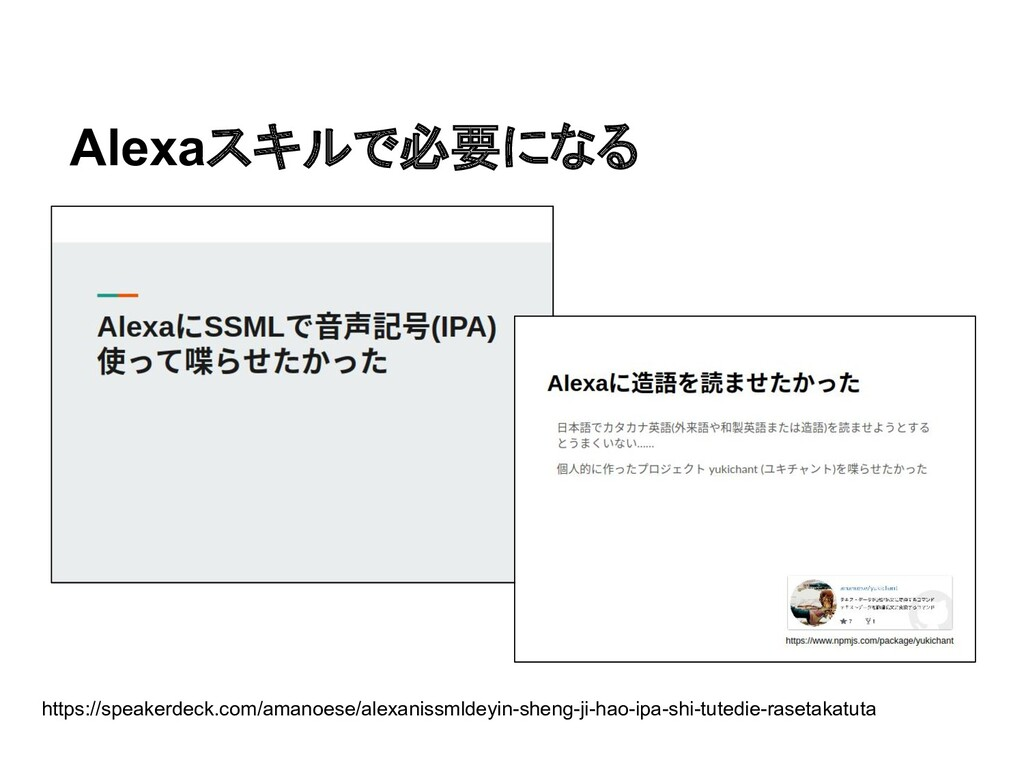 Alexaスキルで必要になる https://speakerdeck.com/amanoese...