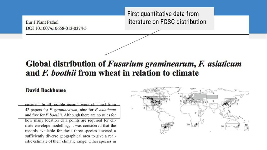 First quantitative data from literature on FGSC...