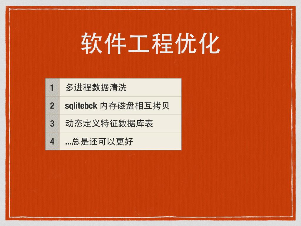 软件⼯工程优化 1 多进程数据清洗 2 sqlitebck 内存磁盘相互拷⻉贝 3 动态定义特...