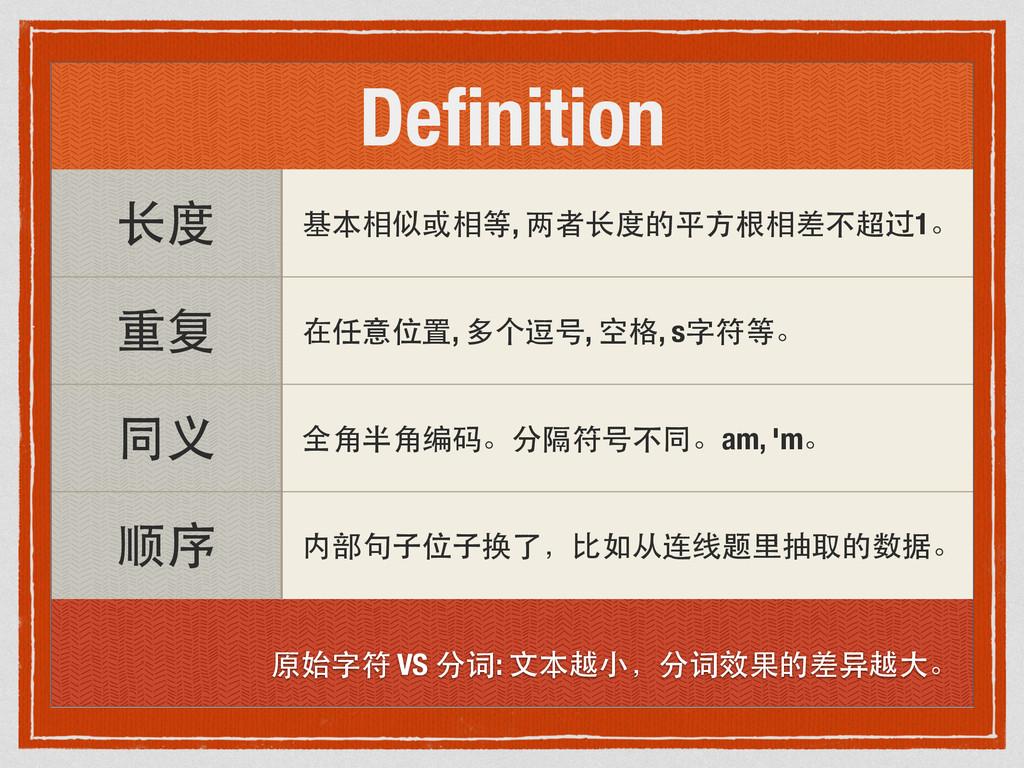 Definition ⻓长度 基本相似或相等, 两者⻓长度的平⽅方根相差不超过1。 重复 在任意...