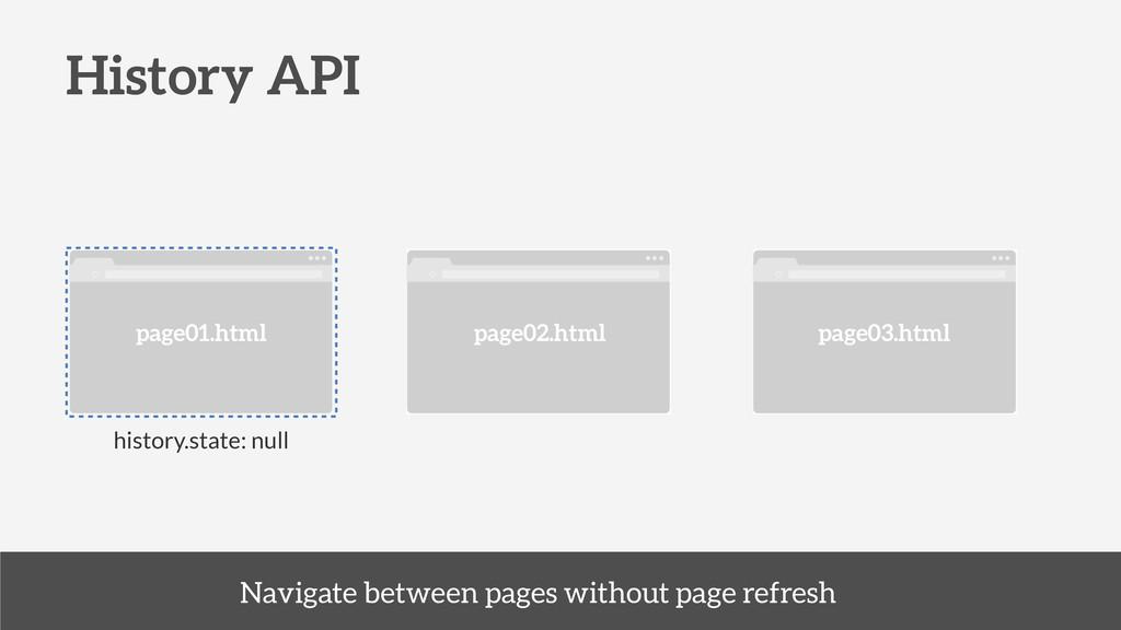History API page01.html page02.html page03.html...