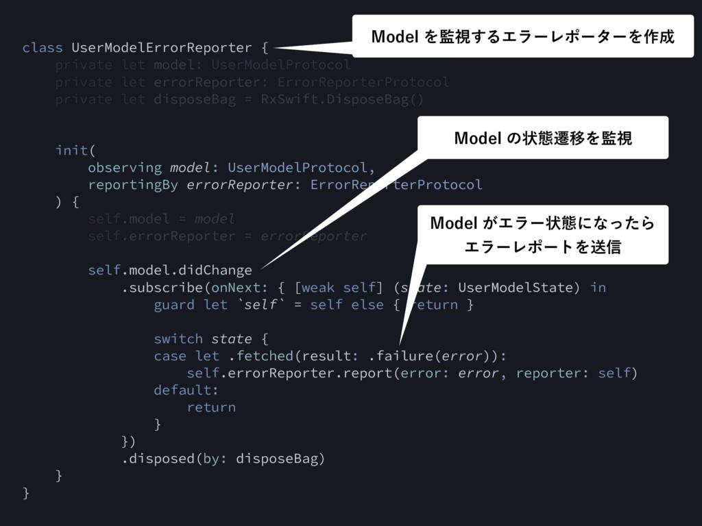 class UserModelErrorReporter { private let mode...