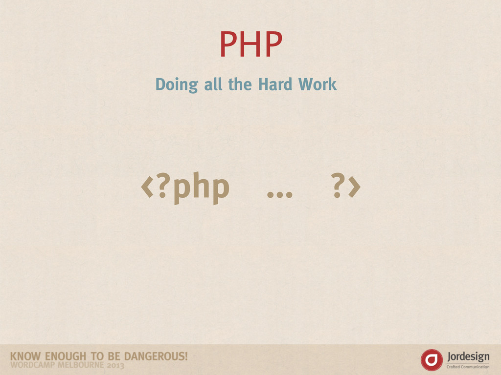PHP <?php ... ?> Doing all the Hard Work