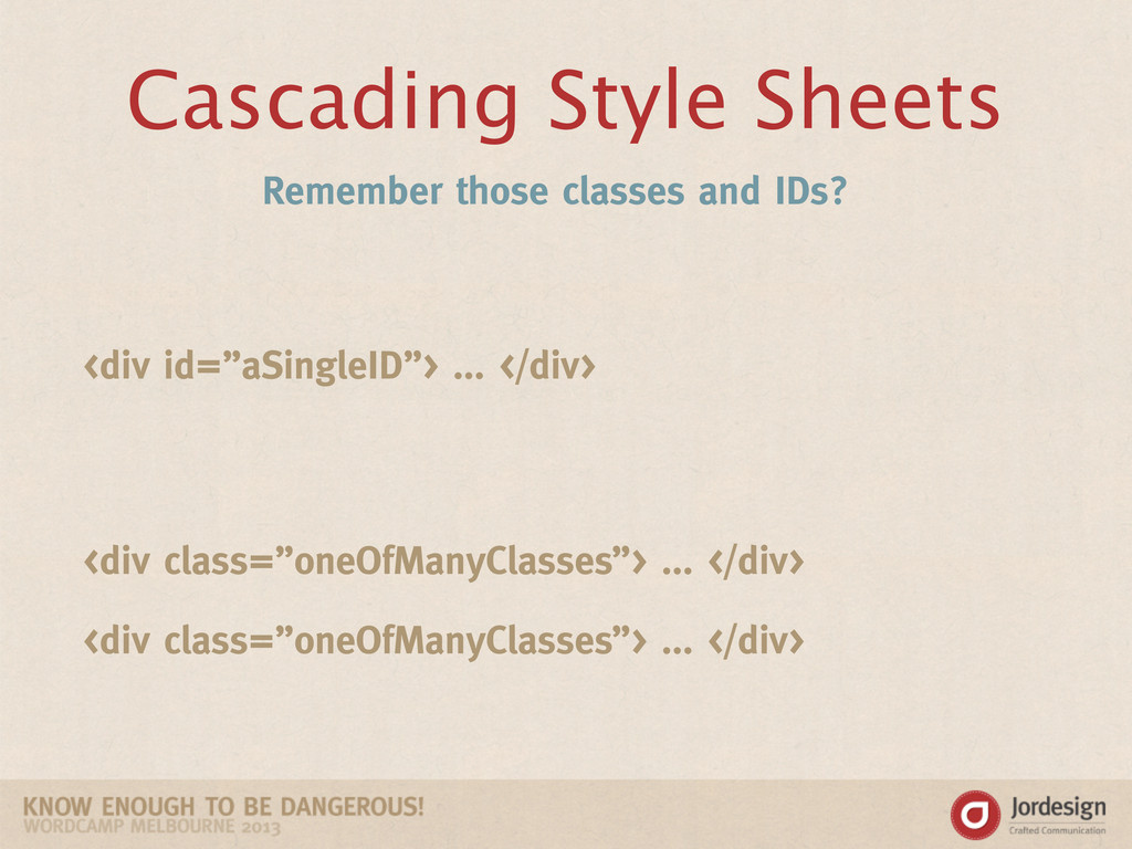 Cascading Style Sheets Remember those classes a...