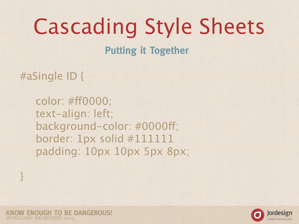 Cascading Style Sheets Putting it Together #aSi...