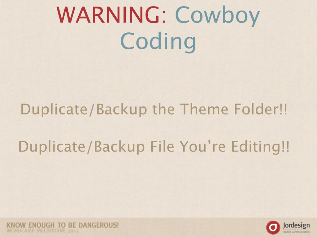 WARNING: Cowboy Coding Duplicate/Backup the The...