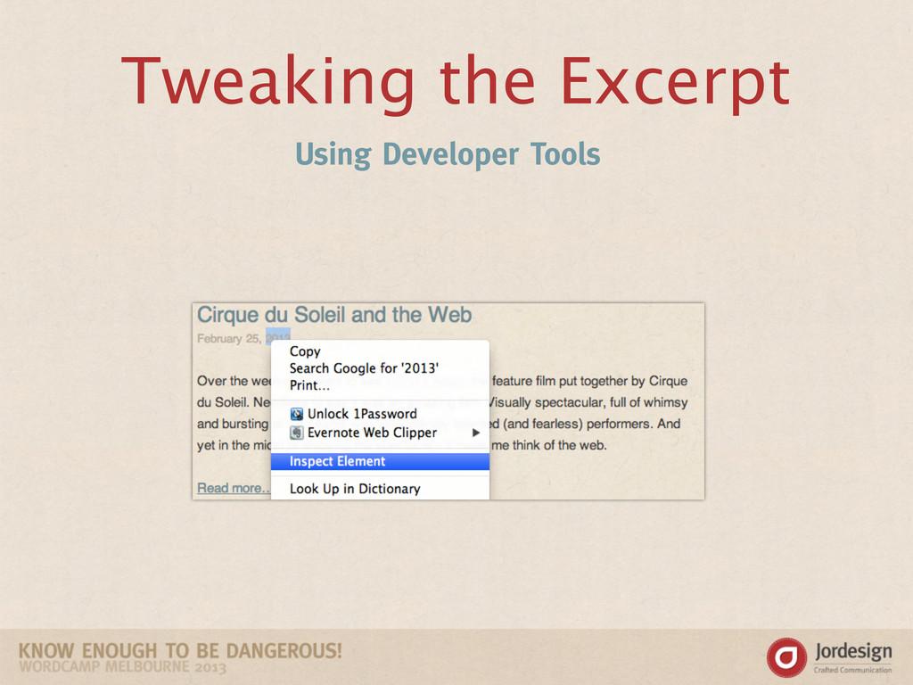 Tweaking the Excerpt Using Developer Tools