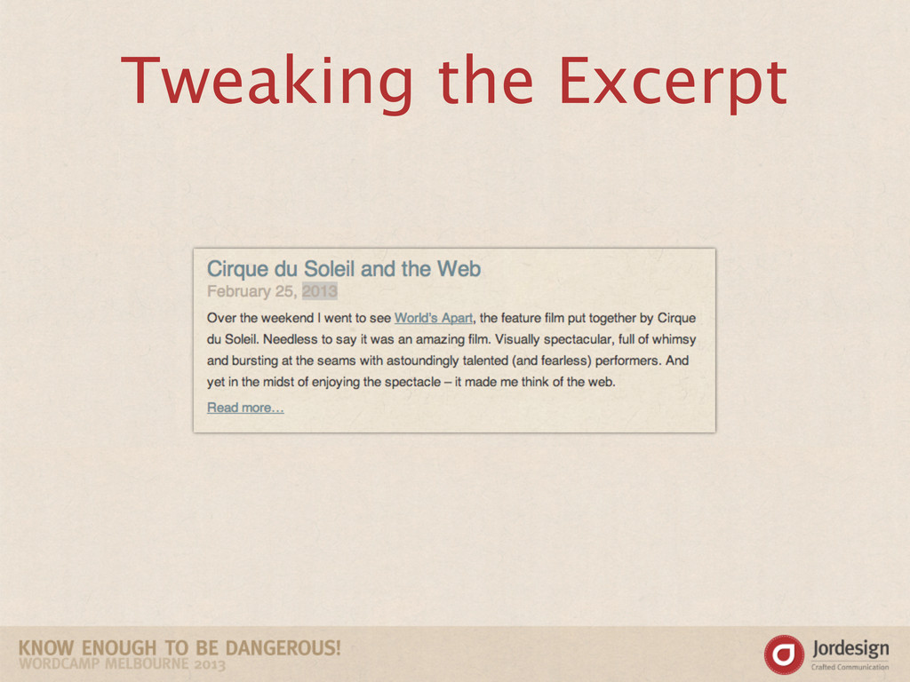 Tweaking the Excerpt