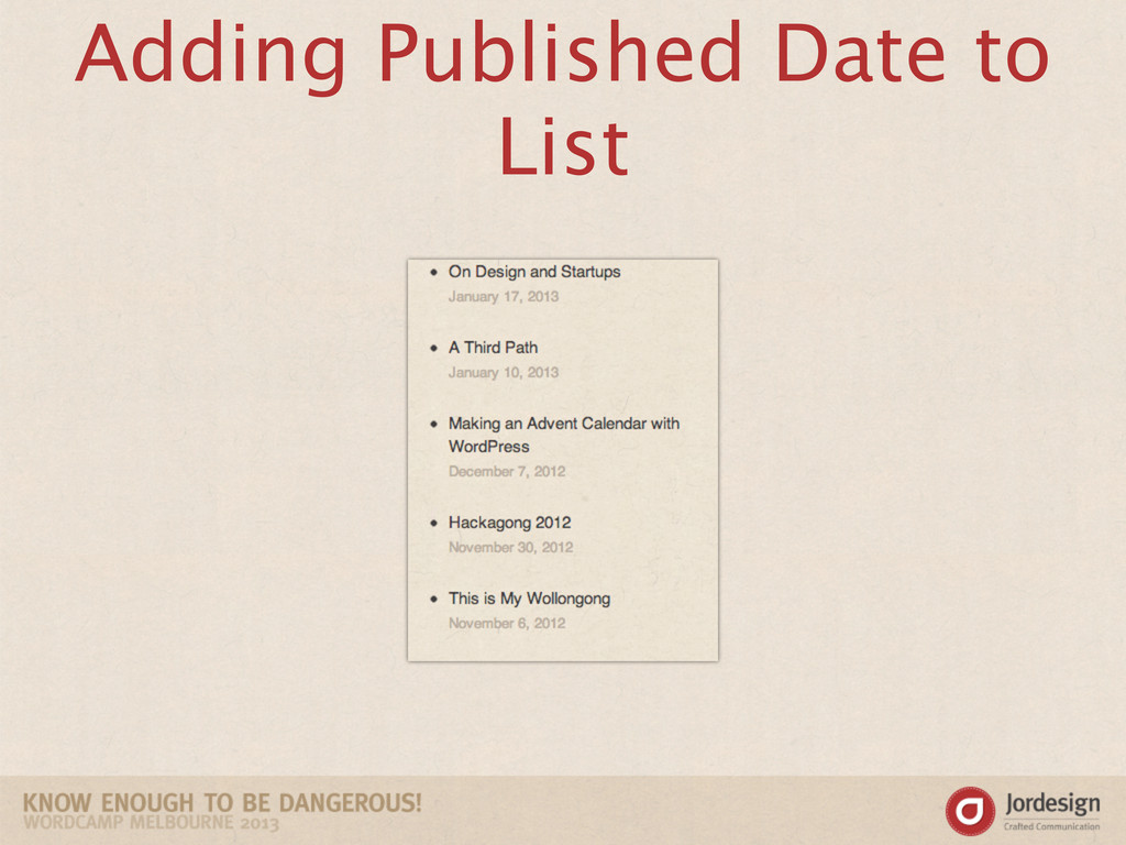 Adding Published Date to List