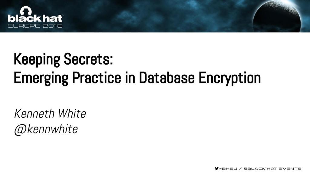 Keeping Secrets: Emerging Practice in Database ...