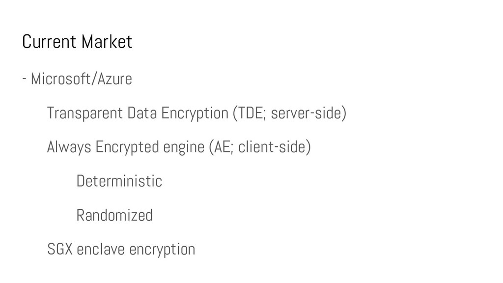 Current Market - Microsoft/Azure Transparent Da...