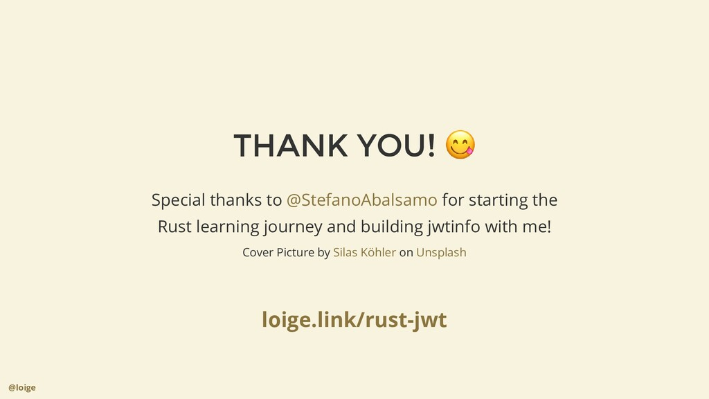 THANK YOU! 😋 @loige Special thanks to for start...