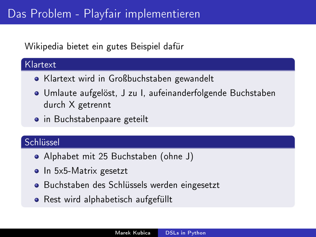 Das Problem - Playfair implementieren Wikipedia...