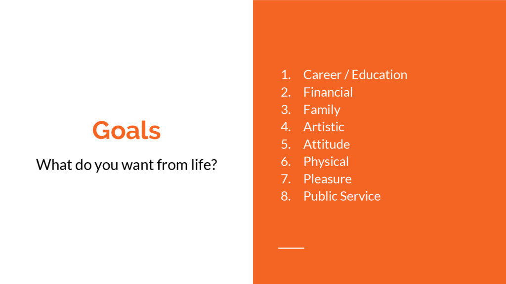 Goals What do you want from life? 1. Career / E...