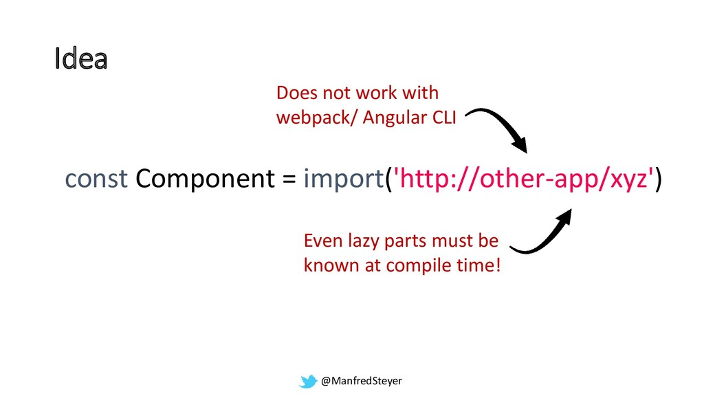 @ManfredSteyer Idea const Component = import('h...