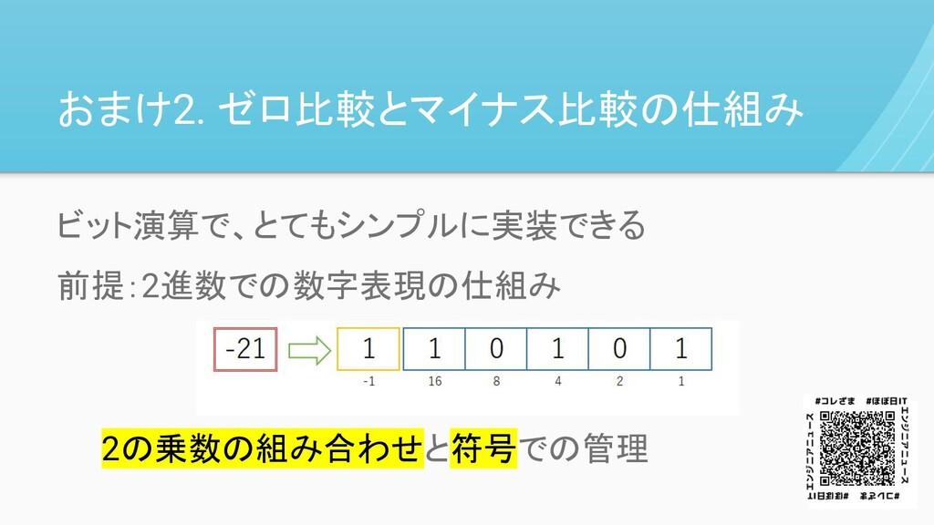 おまけ2. ゼロ比較とマイナス比較の仕組み ビット演算で、とてもシンプルに実装できる 前提:2...
