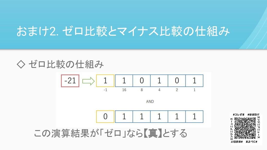 おまけ2. ゼロ比較とマイナス比較の仕組み ◇ ゼロ比較の仕組み   この演算結果が「ゼロ」な...