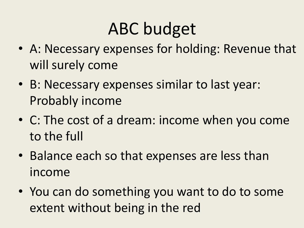 ABC budget • A: Necessary expenses for holding:...