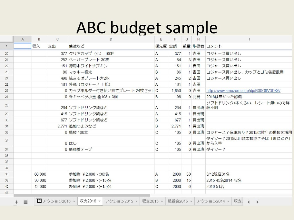 ABC budget sample