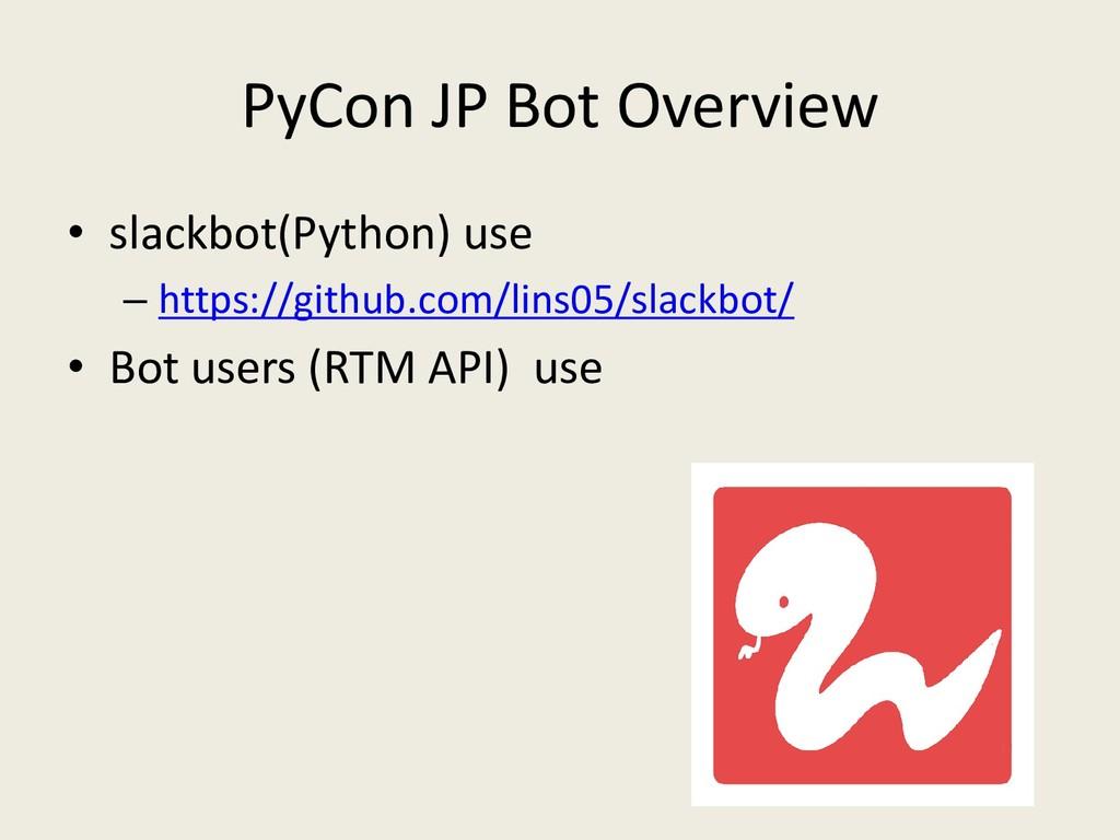 PyCon JP Bot Overview • slackbot(Python) use – ...