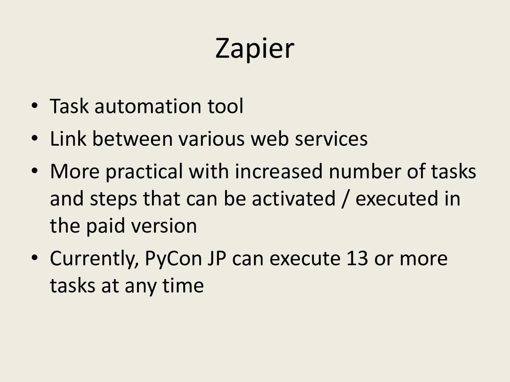 Zapier • Task automation tool • Link between va...