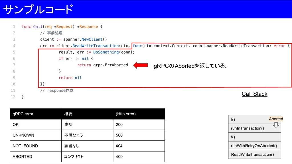 サンプルコード gRPCのAbortedを返している。 gRPC error 概要 (Http...