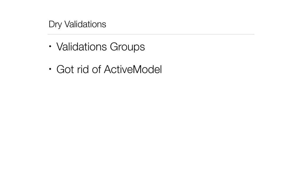 Dry Validations • Validations Groups • Got rid ...