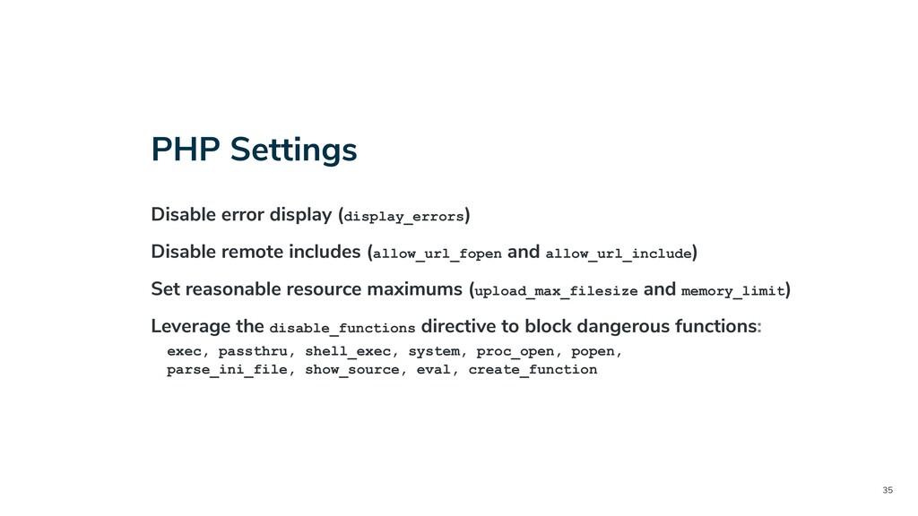 35 PHP Settings Disable error display (display_...