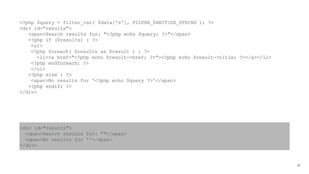 41 <?php $query = filter_var( $data['s'], FILTE...