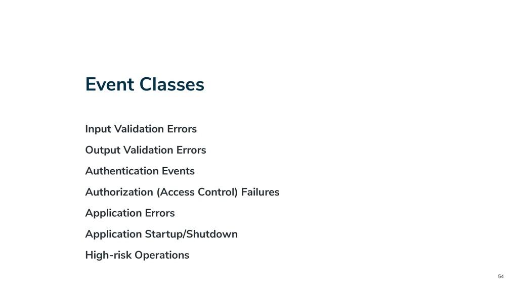 54 Event Classes Input Validation Errors Output...