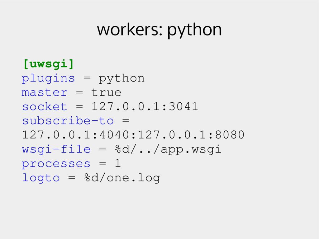 workers: python [uwsgi] plugins = python master...