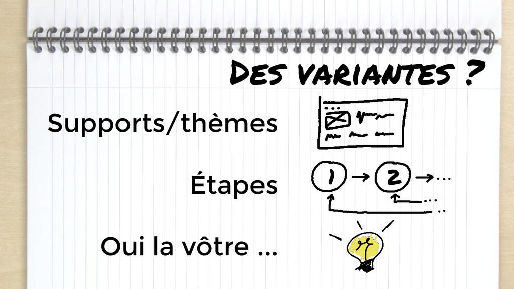 Des variantes ? Supports/thèmes Étapes Oui la v...