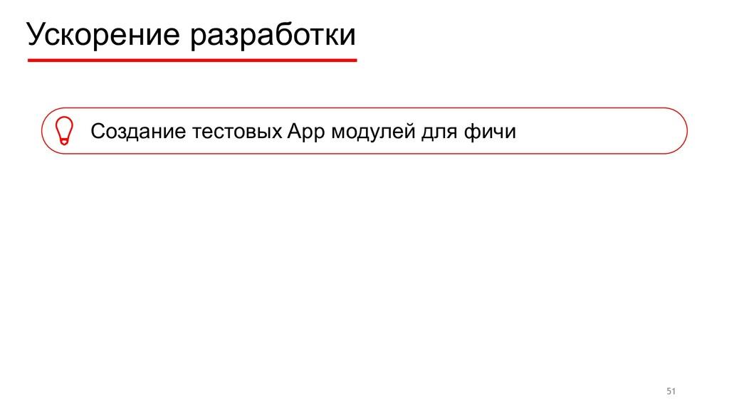 Ускорение разработки Создание тестовых App моду...