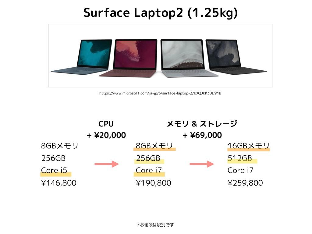 16GBメモリ 512GB Core i7 ¥259,800 *お値段は税別です Surfac...
