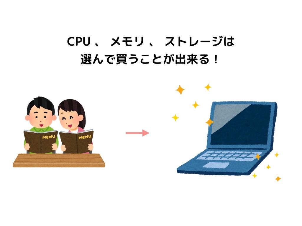 CPU 、 メモリ 、 ストレージは 選んで買うことが出来る!