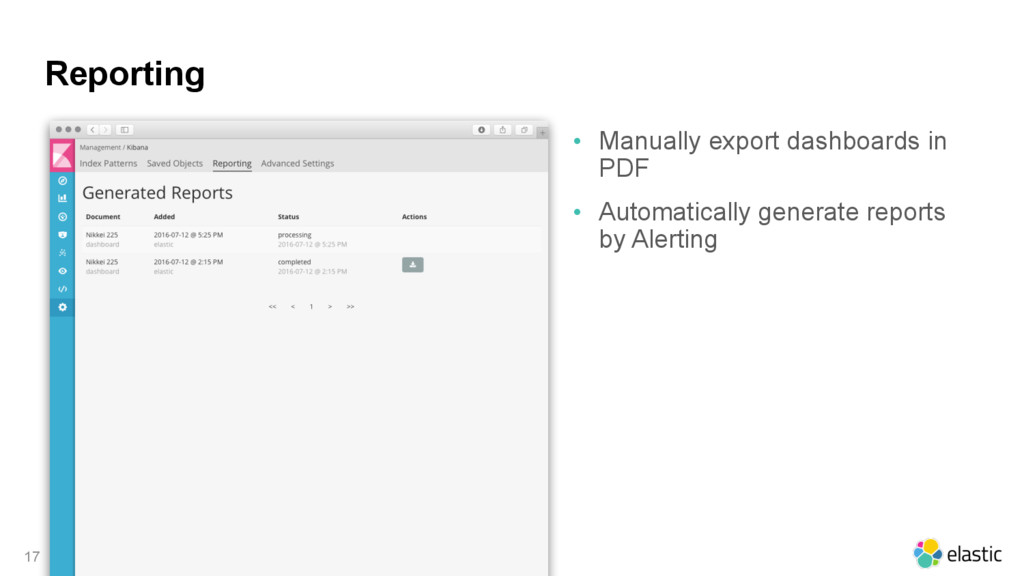 Reporting • Manually export dashboards in PDF •...