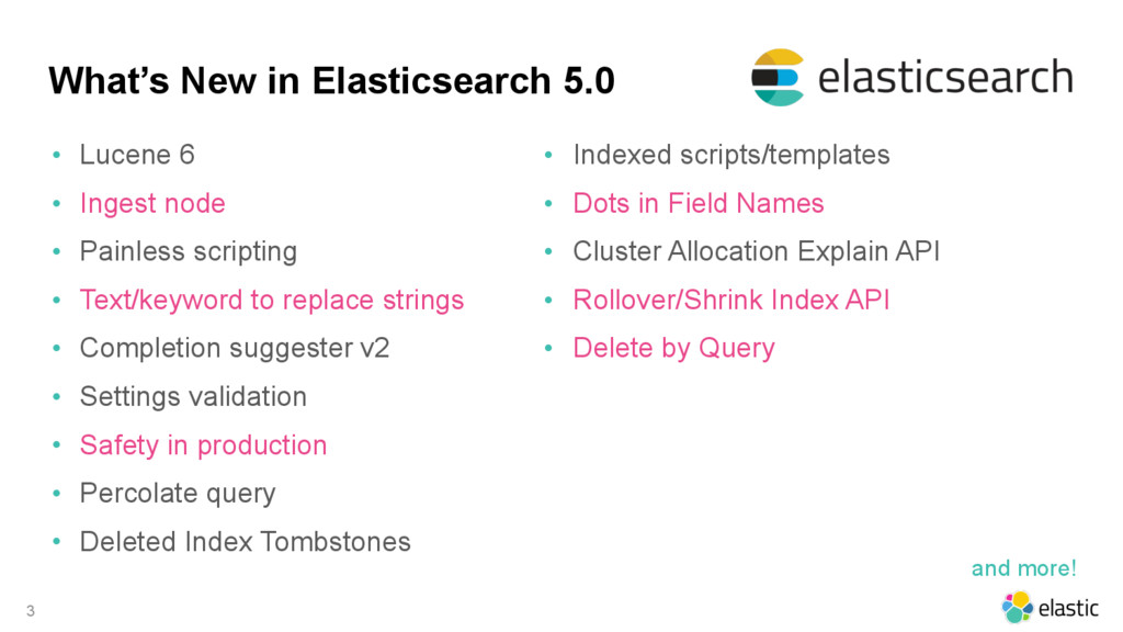 What's New in Elasticsearch 5.0 • Lucene 6 • In...
