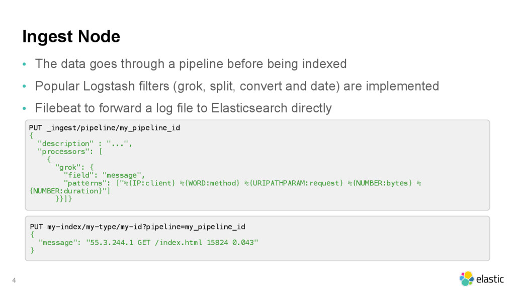 Ingest Node • The data goes through a pipeline ...
