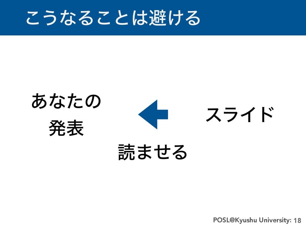 ͜͏ͳΔ͜ͱආ͚Δ 18 POSL@Kyushu University: ͋ͳͨͷ   ൃද...