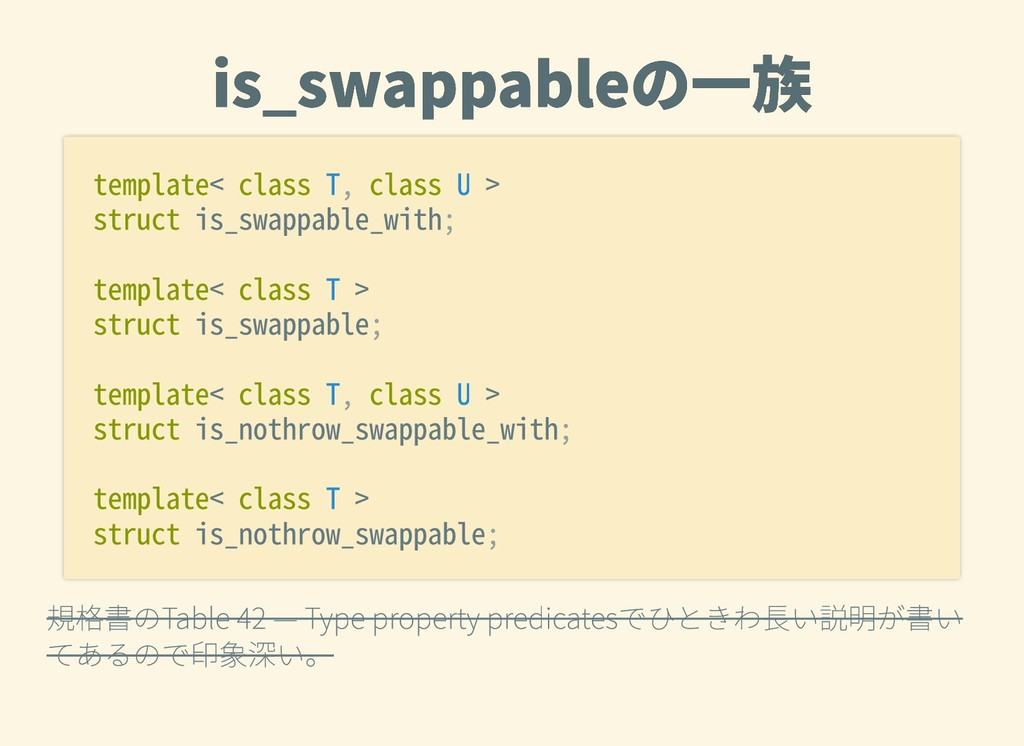 is_swappableの⼀族 is_swappableの⼀族 規格書のTable42—...