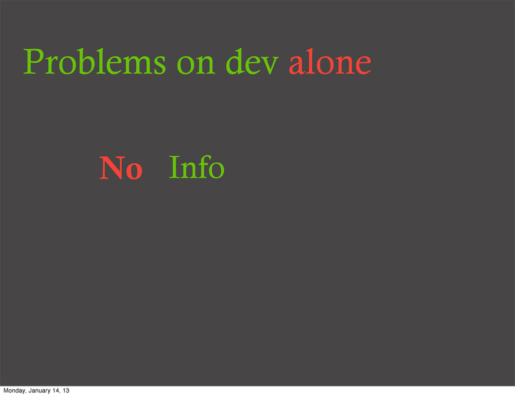 Problems on dev alone No Info Monday, January 1...
