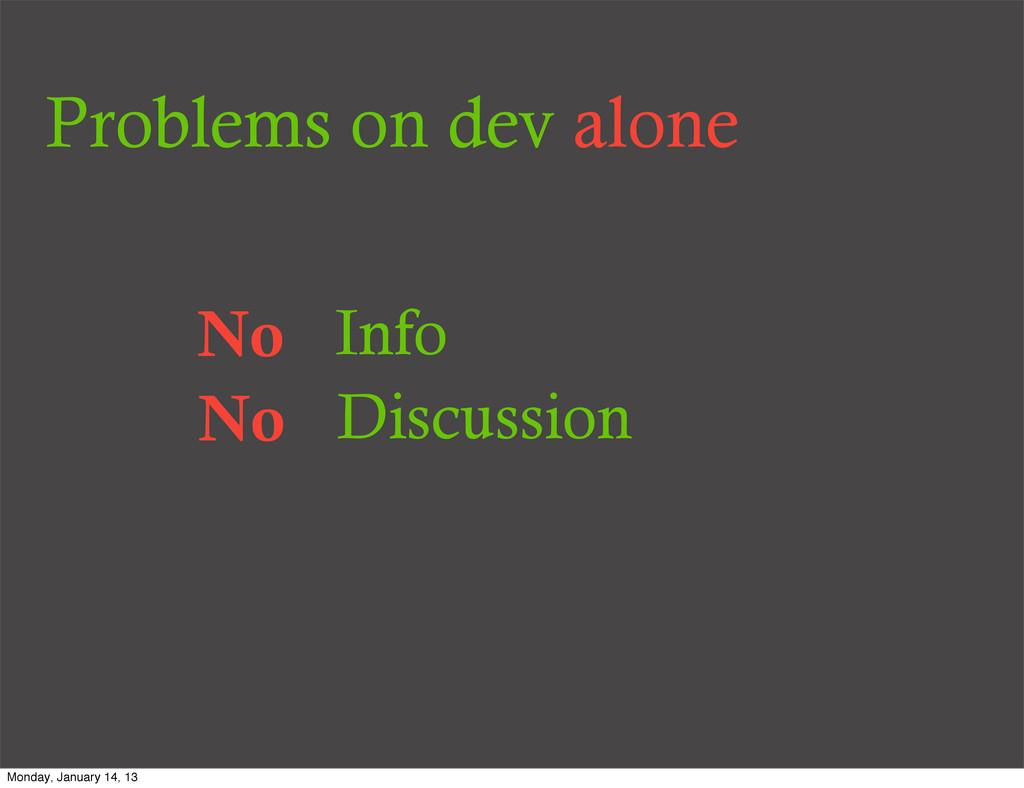 Problems on dev alone No Info No Discussion Mon...