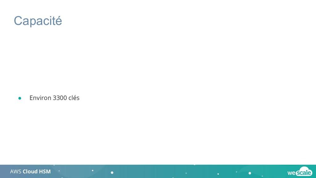 Capacité AWS Cloud HSM ● Environ 3300 clés
