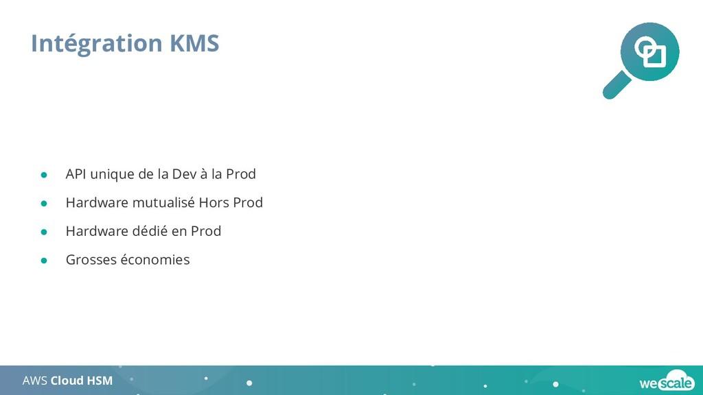 Intégration KMS AWS Cloud HSM ● API unique de l...