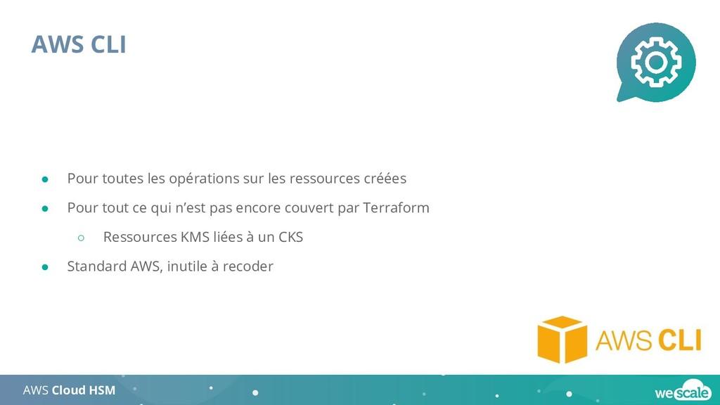 AWS CLI AWS Cloud HSM ● Pour toutes les opérati...