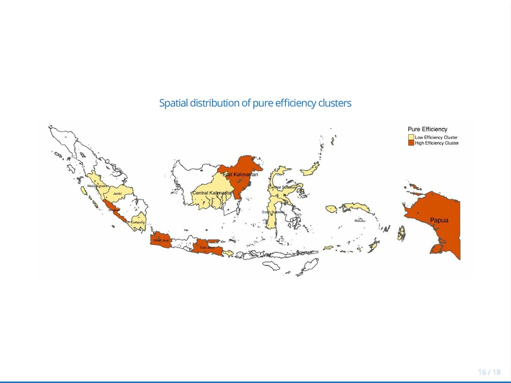 Spatial distribution of pure e ciency clusters