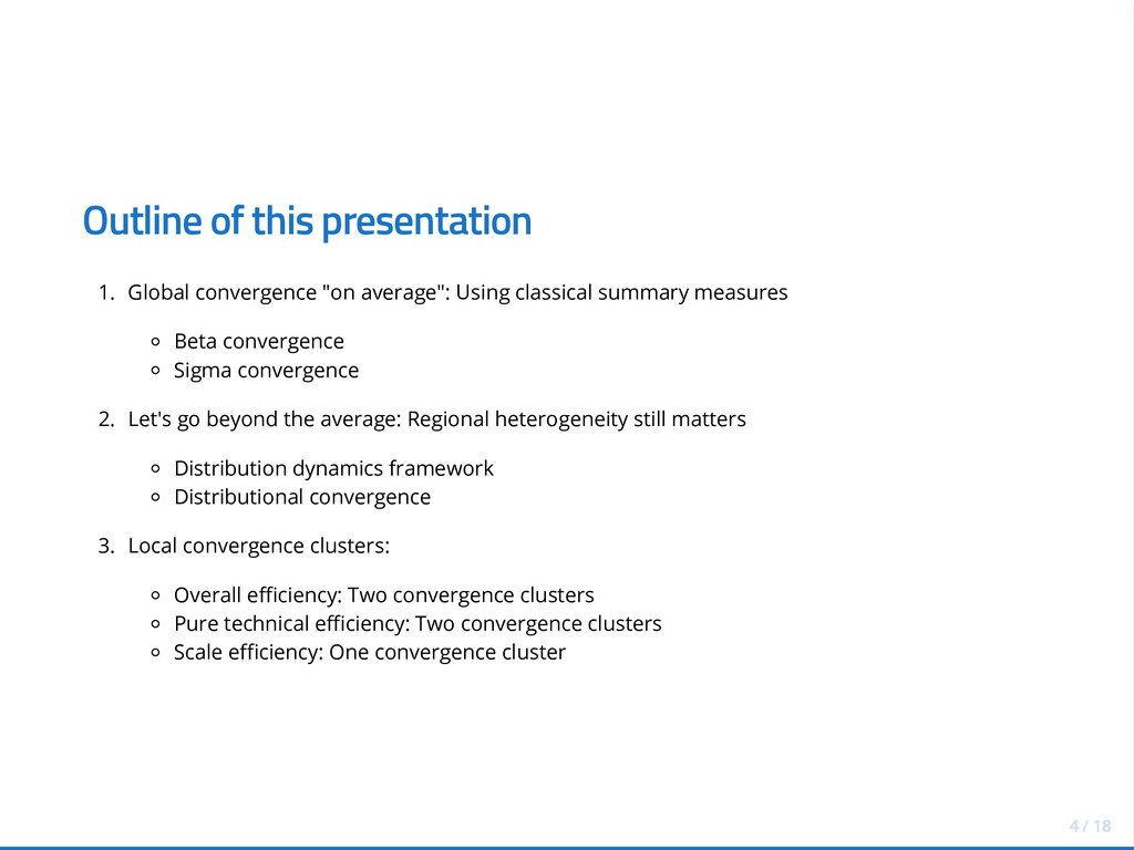 Outline of this presentation 1. Global converge...